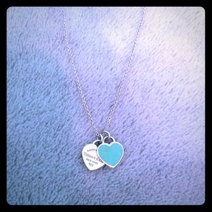 Tiffany and Co turquoise heart silver necklace